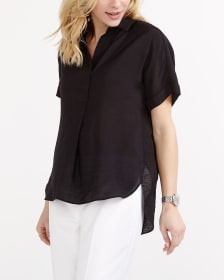 Solid Short Sleeve Blouse