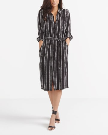 Robe chemise à manches 3/4