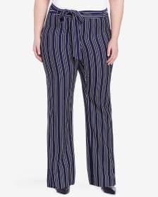 Plus Size Wide Leg Striped Pants