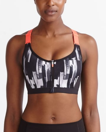 Hyba Printed Zip Medium-Impact Sports Bra