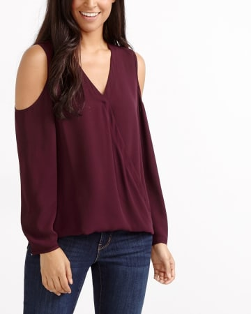 Cold Shoulder Wrap Blouse
