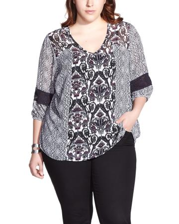 Plus Size 3/4 Sleeve Printed Peasant Blouse