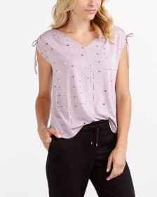 Adjustable Ruched Sleeve Printed Top