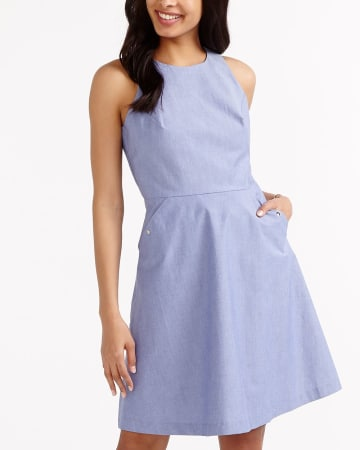 Sleeveless Chambray Dress