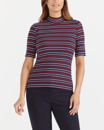 Mock Neck Striped T-Shirt
