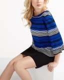 Willow & Thread 3/4 Sleeve Striped Sweater
