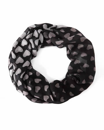 Heart Print Infinity Scarf
