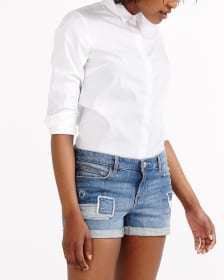 Short en jeans à empiècements