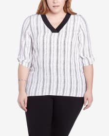 Plus Size 3/4 Sleeve Striped Blouse
