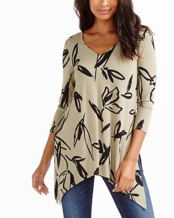 ¾ Sleeve Printed 4-Way Top