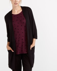 ¾ Sleeve Open Long Cardigan
