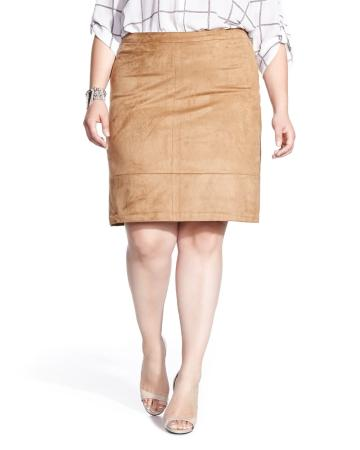 Plus Size Faux Suede Skirt