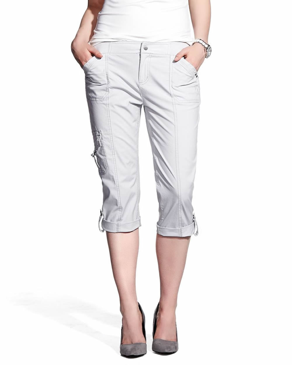 Womens Cargo Pants. Slip into a pair of women's cargo pants and enjoy contentment from pants that look great and offer handy solutions for storing crucial items. Boldly prepare for a day at an outdoor music festival, an afternoon hiking trip or a dinner out with close friends.