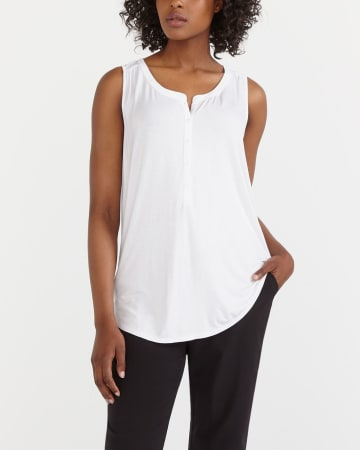 Sleeveless Henley T-Shirt