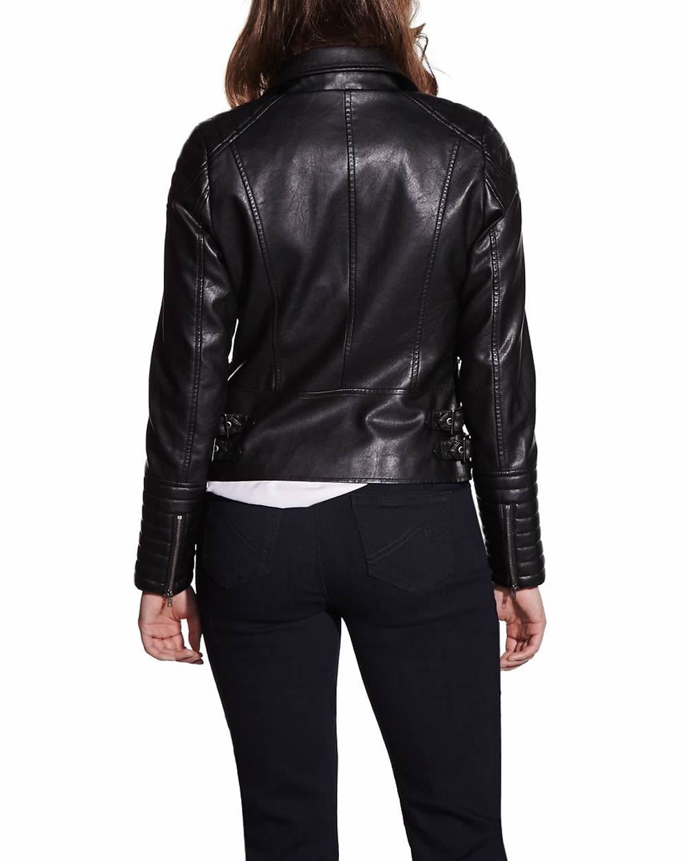 Petite leather moto jacket