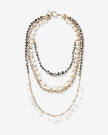 Multi-Strand Necklace with Pearls