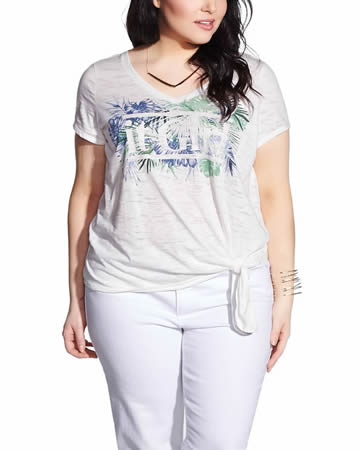 Plus Size Short Sleeve Knotted Tee
