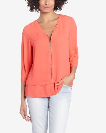 3/4 Sleeve Blouse with Zipper