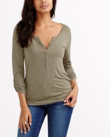 Henley Adjustable ¾ Sleeve Top