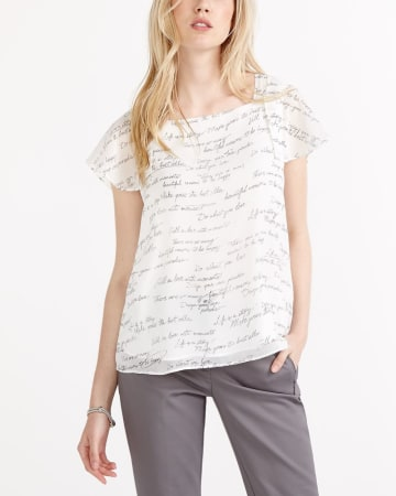 Short Sleeve Lettered Blouse