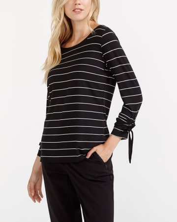 Willow & Thread Ruched Sleeve Striped Top