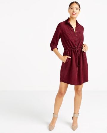 Drawstring Solid Shirt Dress