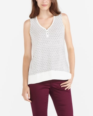 Printed Sleeveless V-Neck Top