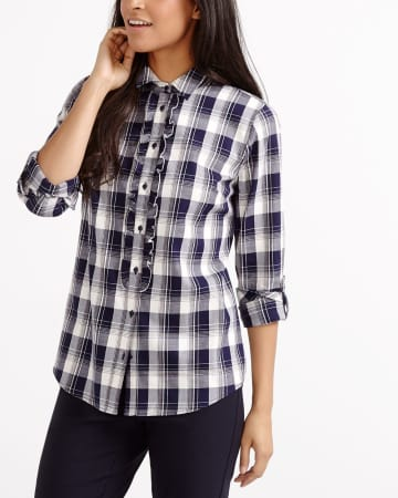 Ruffle Plaid Shirt