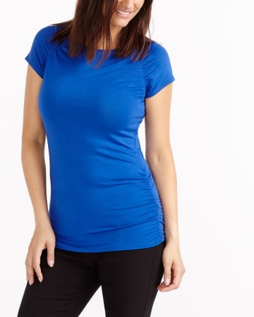 Short Sleeve Ruched Solid Top