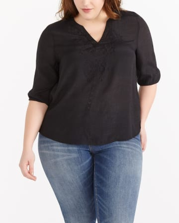 Plus Size Elbow Sleeve Blouse