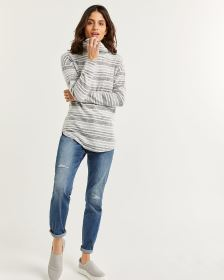 Brushed Knit Striped Tee with Cowl Neck
