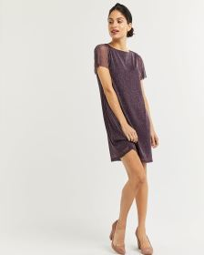 Short Sleeve Shimmer T-Shirt Dress
