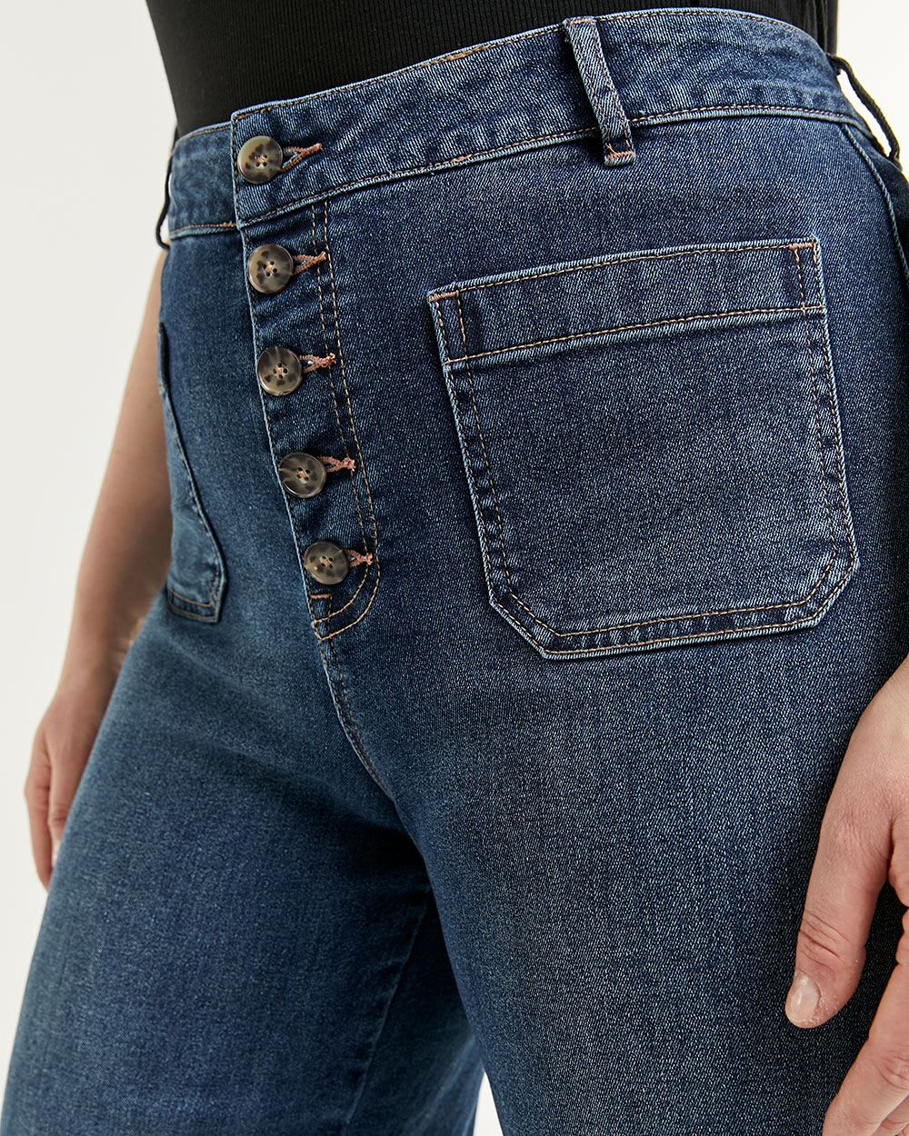 Wide Cropped Jeans with Button Fly