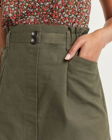 A-Line Paperbag Skirt with Pockets