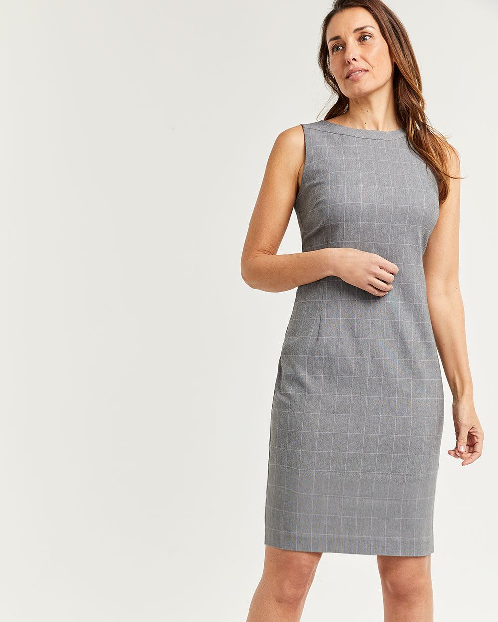 Windowpane Sleeveless Boat Neck Dress