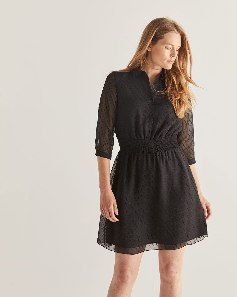 Smocked Waist Black Dress