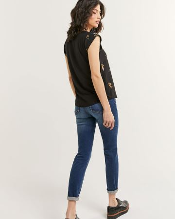 Short Sleeve V-Neck Mix Media Printed Top