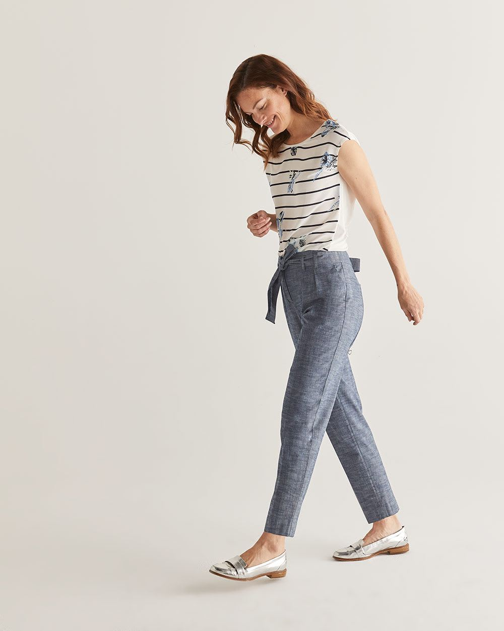 Slim Leg Paperbag Chambray Pants - Tall