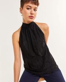 Halter Neck Lace Blouse with Bow