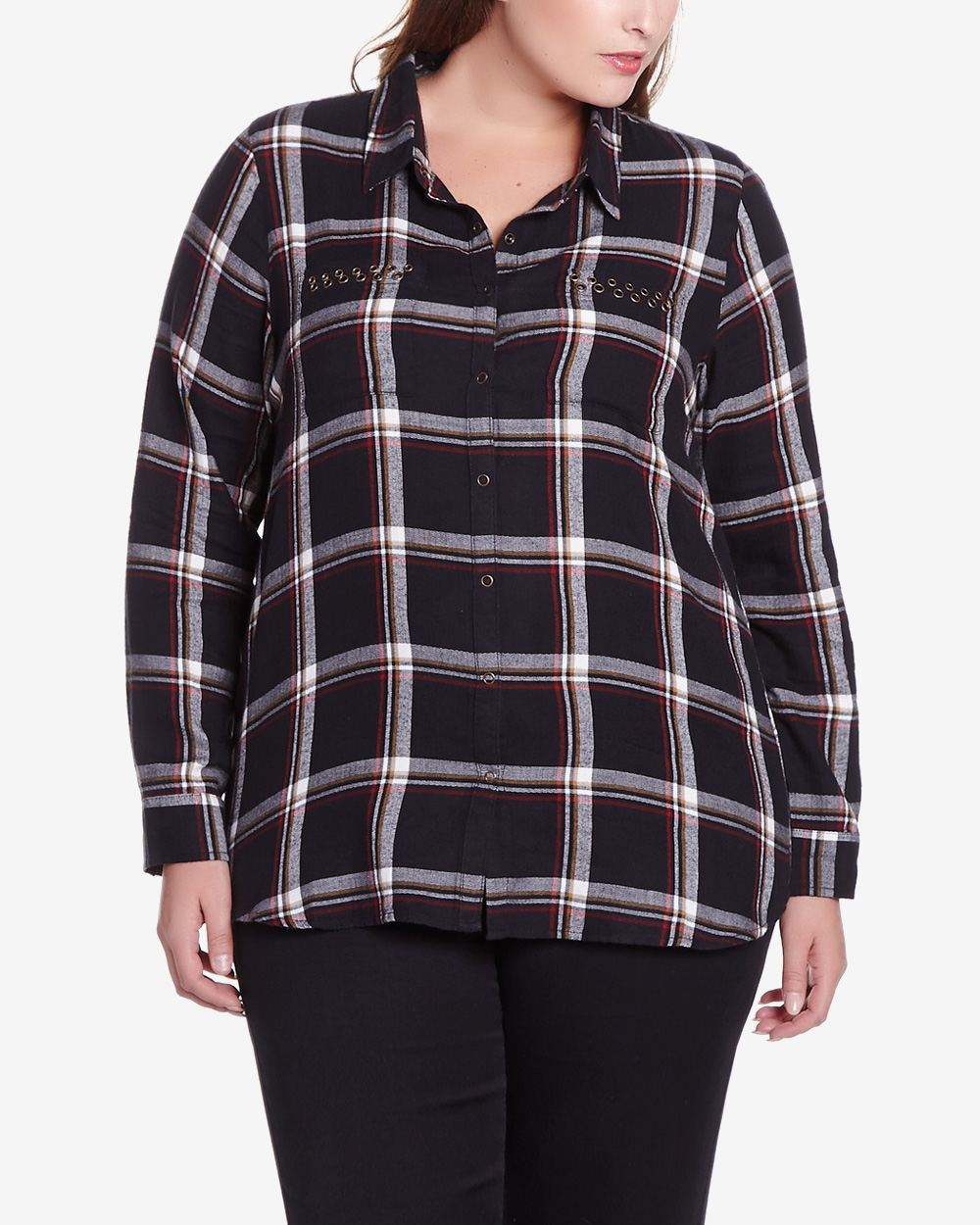 Plus Size Long Sleeve Plaid Shirt Plus Sizes Reitmans