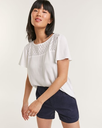 Solid Short Sleeve Blouse with Crochet Yoke