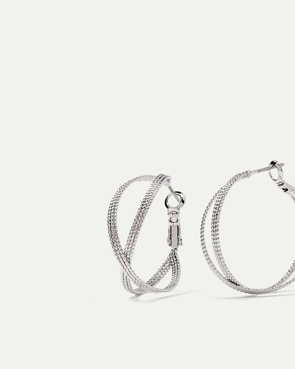 Crossed Double Hoop Earrings