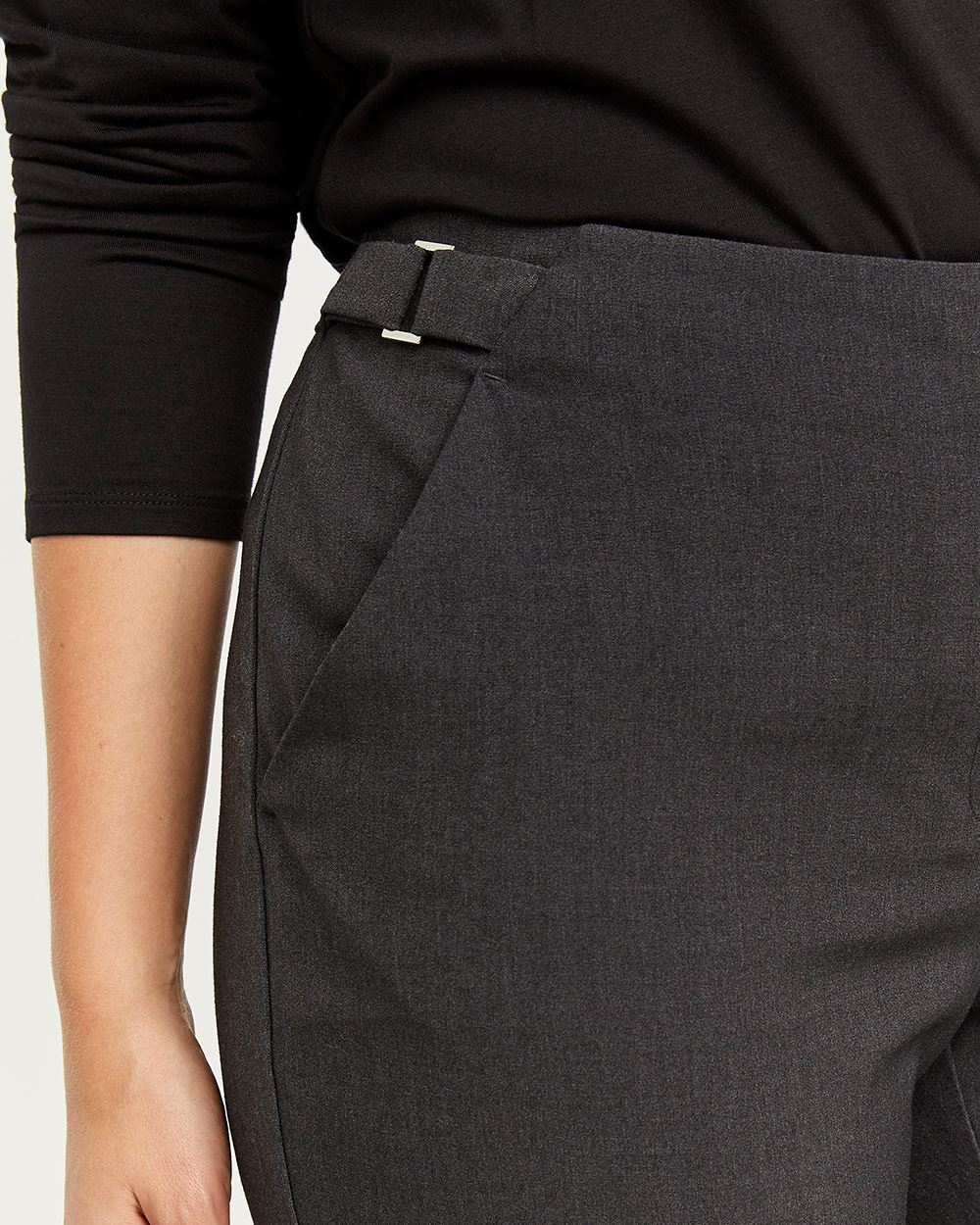 The New Classic Straight Pants with Side Metal Buckles