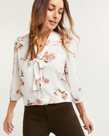 Printed Blouse with Neck Bow