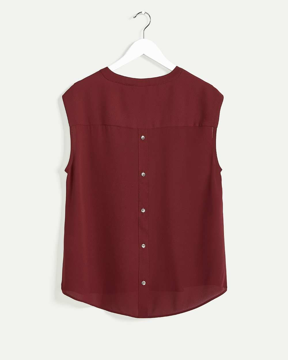 Short Sleeve Crew Neck Blouse with Buttoned Back