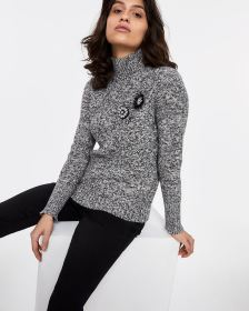 Embellished Mock Neck Sweater