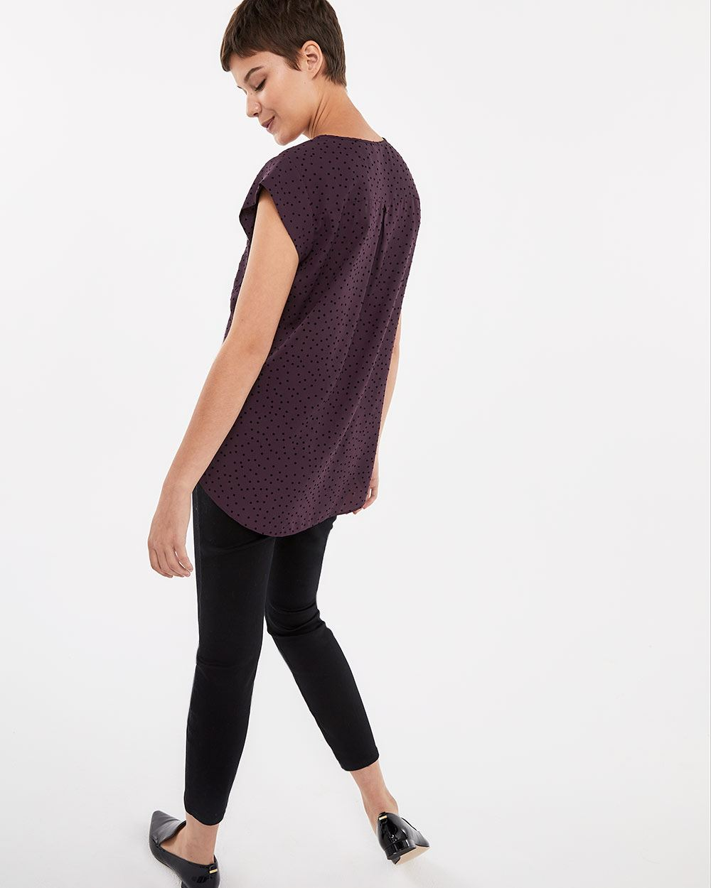 Cap Sleeve Front Pocket Blouse