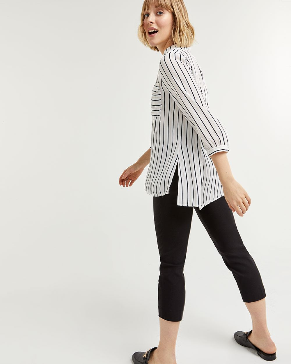Striped 3/4 Sleeve Mao Collar Blouse
