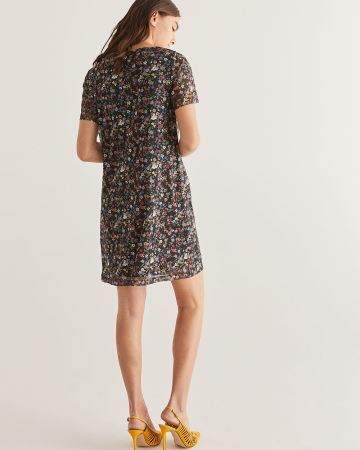 Floral Printed Mesh Shift Dress