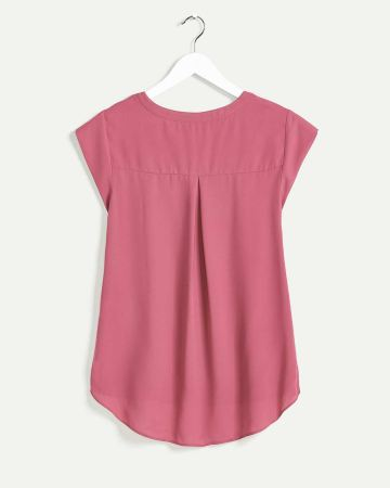 Short Sleeve Split Neck Blouse R Essentials